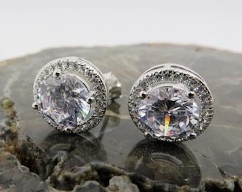 441ed18c6 Round Diamond Earrings - Cubic Zirconia studs, Silver earrings, Gift for her,  Minimalist, Moissanite Earrings , Gemstone, Bridesmaid