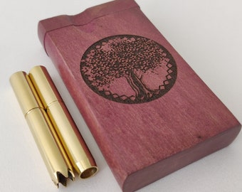 Olive Branch Purpleheart Dugout with Poker Pure Brass One Hit Pipe w// Stash Box