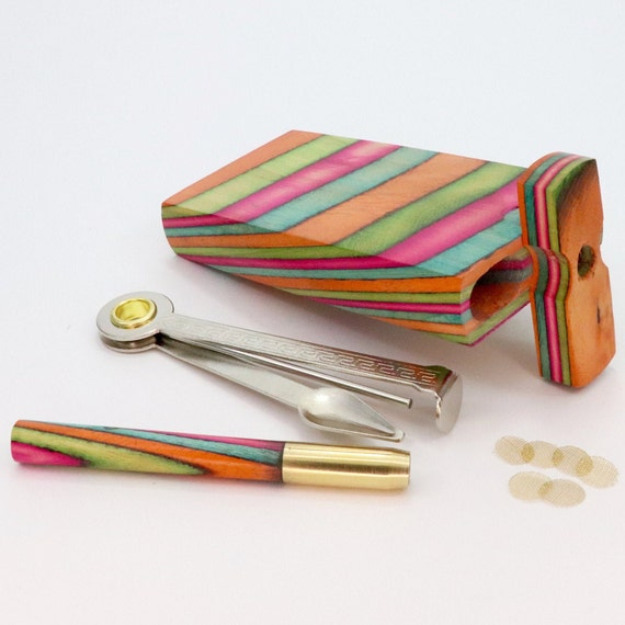 Brass Bowl Stash Box Set Rainbow Wooden Chillum Pipes 4 inch Rainbow Dugout with 3 Inch Brass and Wood One Hitter Bat +4 Pipe Screens