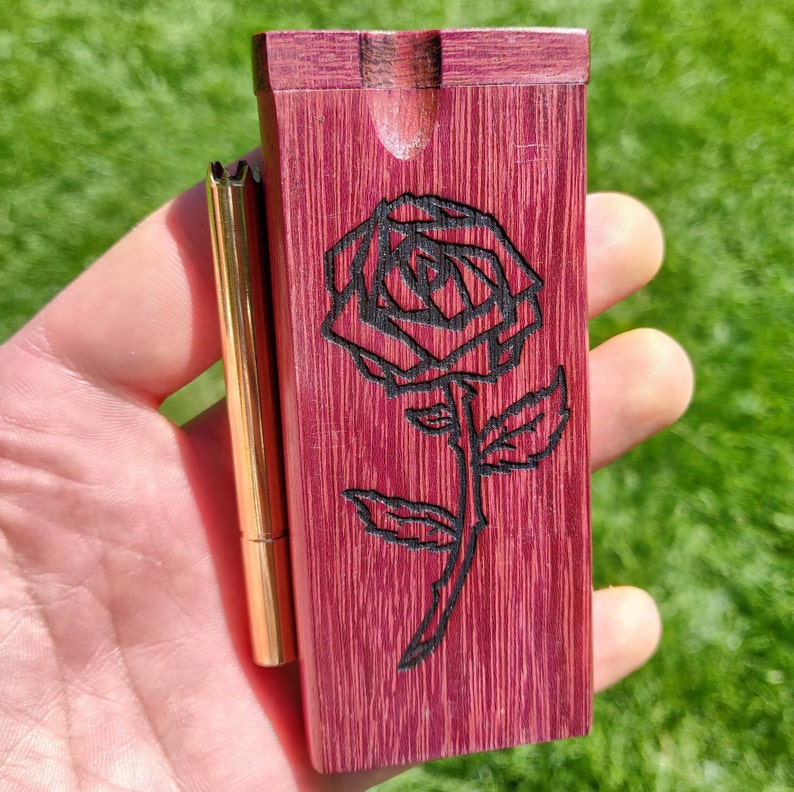 "Brass Bat Rose Engraved 4/"" Rosewood Dugout One Hitter Stash Box w// Grinder Pipe"