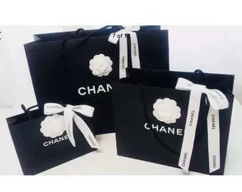 ddad38f0bb51 CHANEL 3 (Three) Shopping Gift Tote Bags with Camellia Flower and Chanel  Ribbons