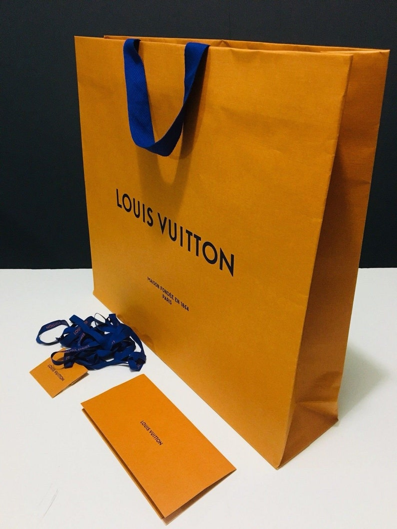 906a18fee31f67 Louis Vuitton Shopping Gift Tote Paper Bags with Gift Cards | Etsy