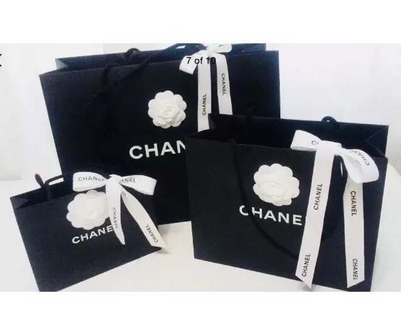c25cd991974651 CHANEL 3 Three Shopping Gift Tote Bags with Camellia Flower | Etsy