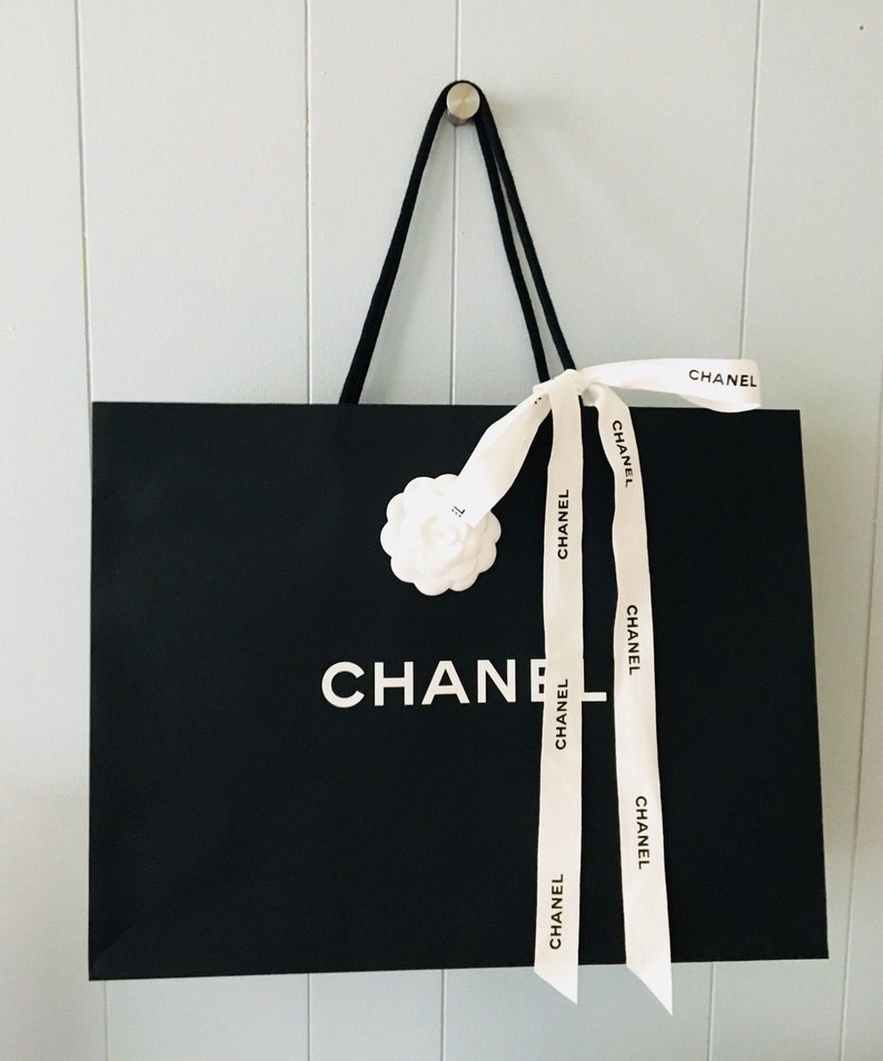 13e7bfd6a512 Chanel Shopping Gift Tote Bags with Camellia Flower and Chanel | Etsy