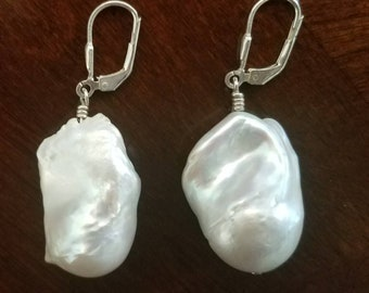 White Baroque Large Pearl Earrings with Sterling Silver French Hooks