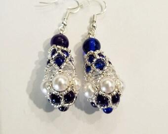 Royal Pendulum Earrings - Blue and Pearl