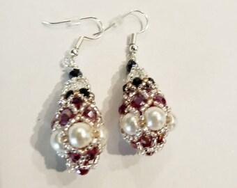Royal Pendulum Earrings - Red, Black, and Pearl