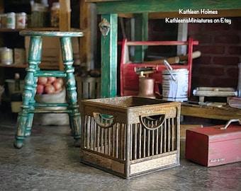 Dollhouse Miniature Old Rusty Milk Crate #1