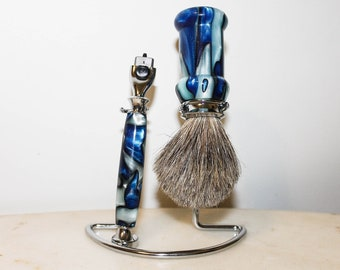 Gentlemen's Shaving Set - Blue Acrylic