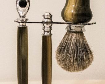 Gentlemen's Shaving Set - Faux Horn Acrylic