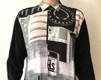 80s 90s black and white printed shirt long sleeves