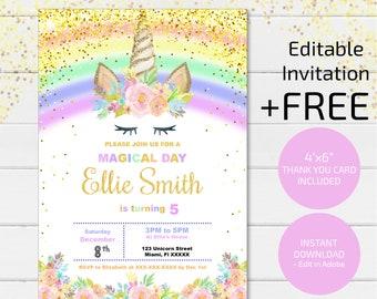 Magical Unicorn Invitation Birthday Glitter Digital File