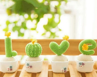 Crocheted Cactus DIY with Tutorial