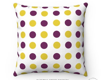Modern Dots Pillow Yellow and Purple Contemporary and Boho Home Decor 18x18 and 20x20