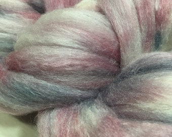 Polwarth and Silk (60/40) roving, 4 oz. Hand-painted in Rose and Grey (OOAK Maybe? colorway)