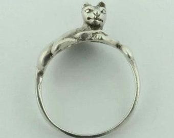 Vintage Sterling Silver Cat Ring