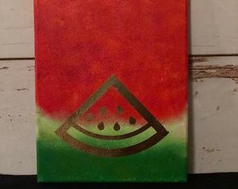 Watermelon Slice Canvas Art 8x10