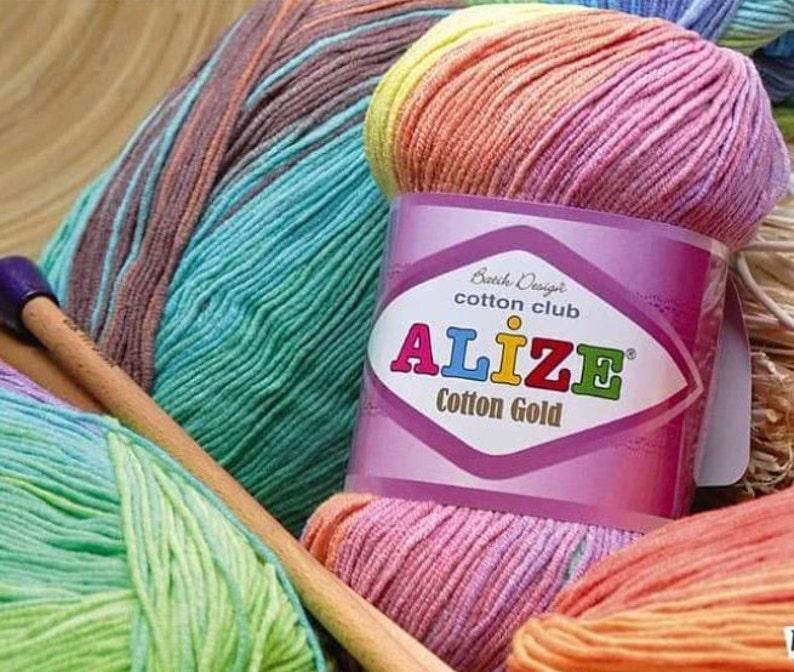 Knitting Yarn multicolor yarn baby yarn Alize Cotton Gold Batik hypoallergenic yarn cotton yarn Soft Yarn crochet yarn
