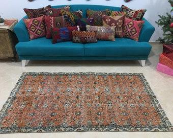 oushak rug oriental rug kitchen rug vintage area rug RK 7708 saloon rug 6 x 9.3 ft orange turkish rug living room rug