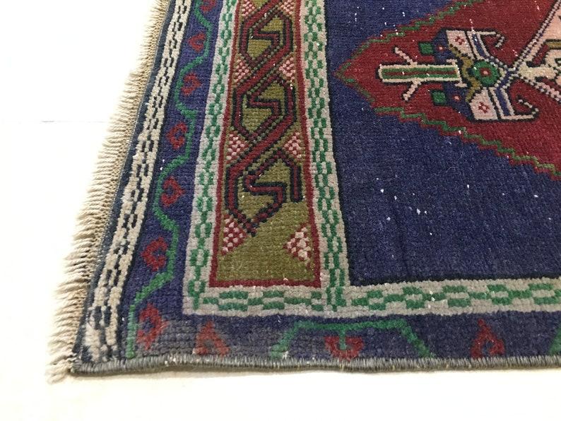 Door mat Vintage rug Turkish small rug Bohemian rug ! FREE SH\u0130PP\u0130NG ! Handmade rug Small rug 90x44cm =2.9 ft x 1.6 ft Wool rug