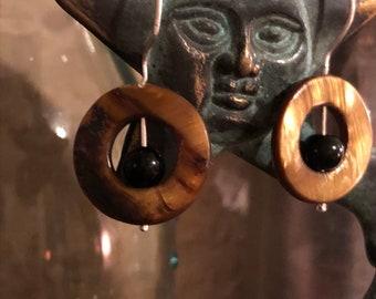 Amber Shell Sterling Silver earring