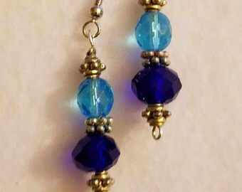 Blue and Silver Crystal Earrings