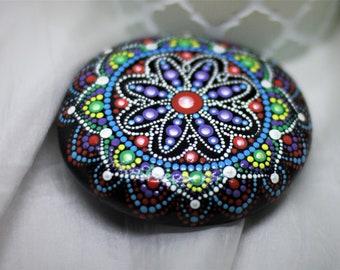 unique design mandala perfectly round calming stone~by Neetu Sharma