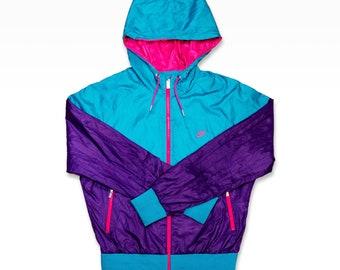Vintage 90s polyester Nike Windbreaker, old school tracksuit jacket by Nike