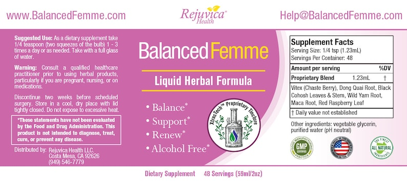 Balanced Femme - Herbal PMS and Menopause Support | All-Natural Liquid for  2X Absorption | Vitex, Dong Quai, Maca Root