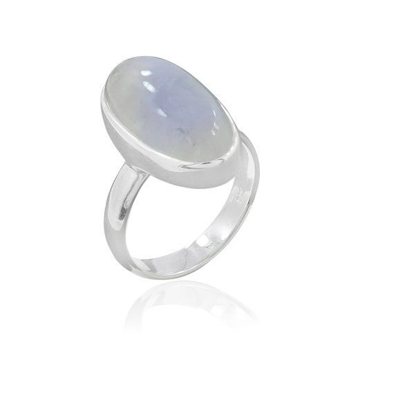 Natural Rainbow Moonstone Ring - Solid 925 Sterling Silver Ring - Handmade Ring - Unisex Jewelry - Size 8