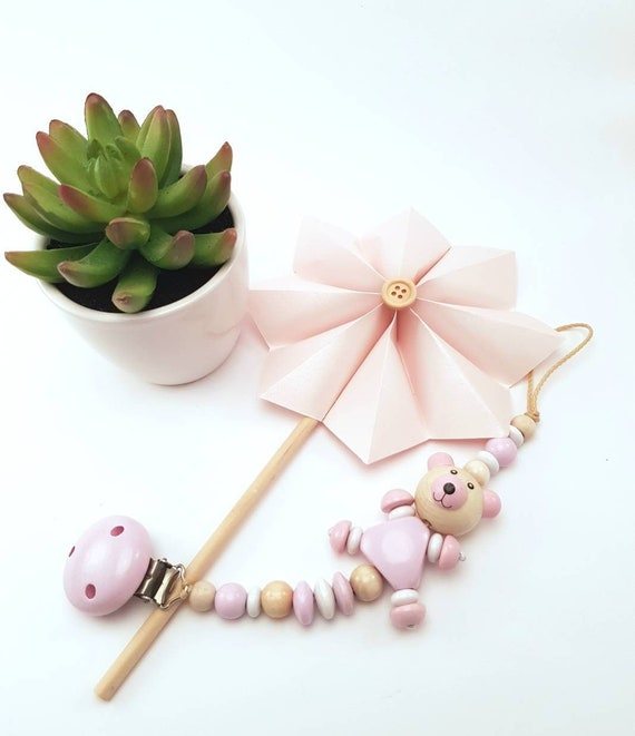 BABY GIRL PINK AND SILVER TEDDY BEAR WOODEN DUMMY CLIP//PACIFIER//TOY HOLDER CLIP