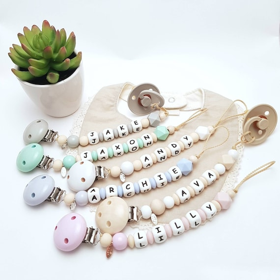 Silicone Name Pacifier Clip Personalised Dummy Chain Baby Dummy Clip