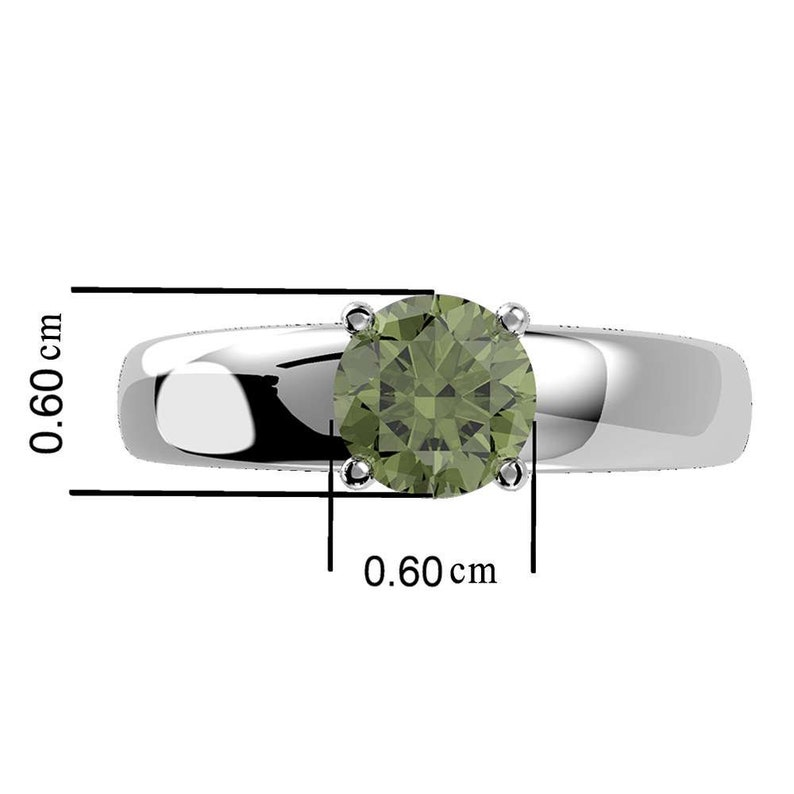 Moldavite Sterling Silver Ring Authentic Moldavite Ring Dainty Ring Gift Her Round Cut Moldavite Ring Prong Ring Moldavite Silver Ring