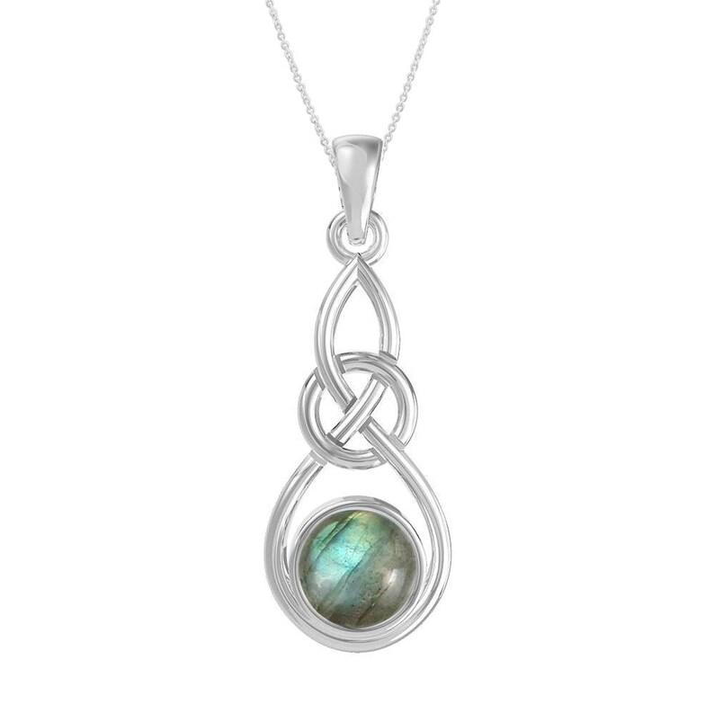 Celtic Knot Pendant Silver Pendant Mom Labradorite Pendant Sterling Silver Pendant Gift for Her Labradorite Necklace Gemstone Pendant