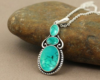 Turquoise Pendant-Three Stone Pendant-Oval Turquoise Pendant-Vintage Pendant-Gemstone Pendant-Turquoise Silver Necklace-925 Sterling Silver
