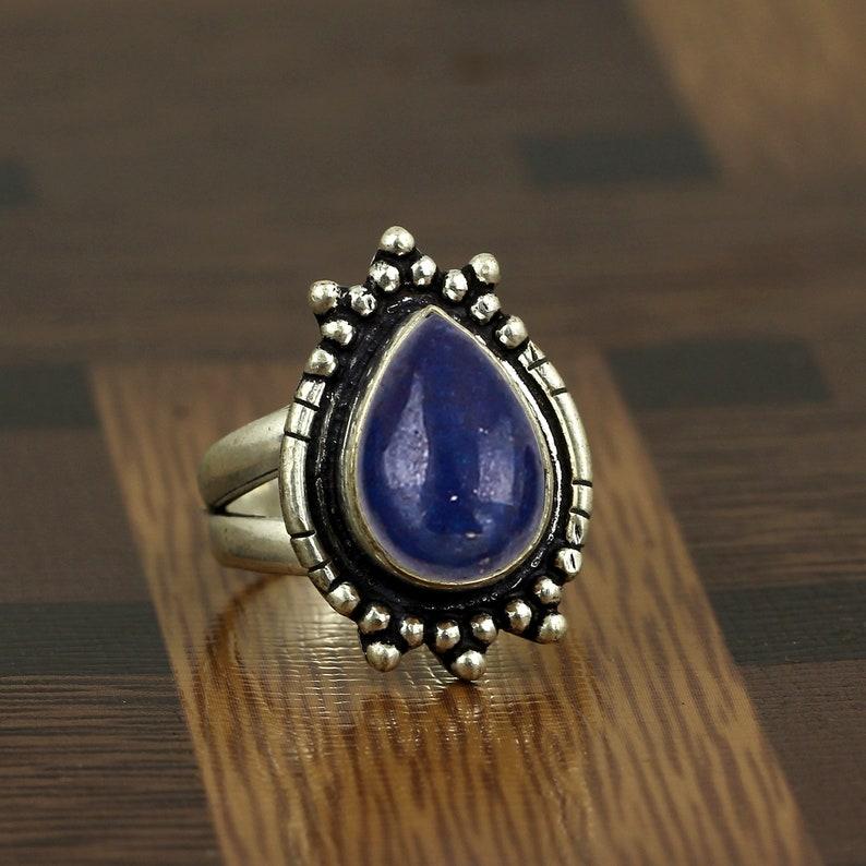Gift For Her, Gemstone Ring Lapis Lazuli Ring Boho Jewelry Natural Lapis Lazuli Sterling Silver Women Ring September Birthstone Ring