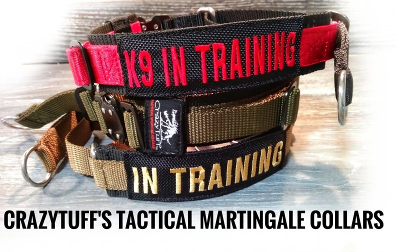 Tactical Martingale Collar with FREE Custom Embroidered Patch Adjustable and comes in multiple color options!