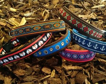 Hundehalsband gepolstert (+Leine) | verschiedene Motive | Klickverschluss Steckschnaller | Hund