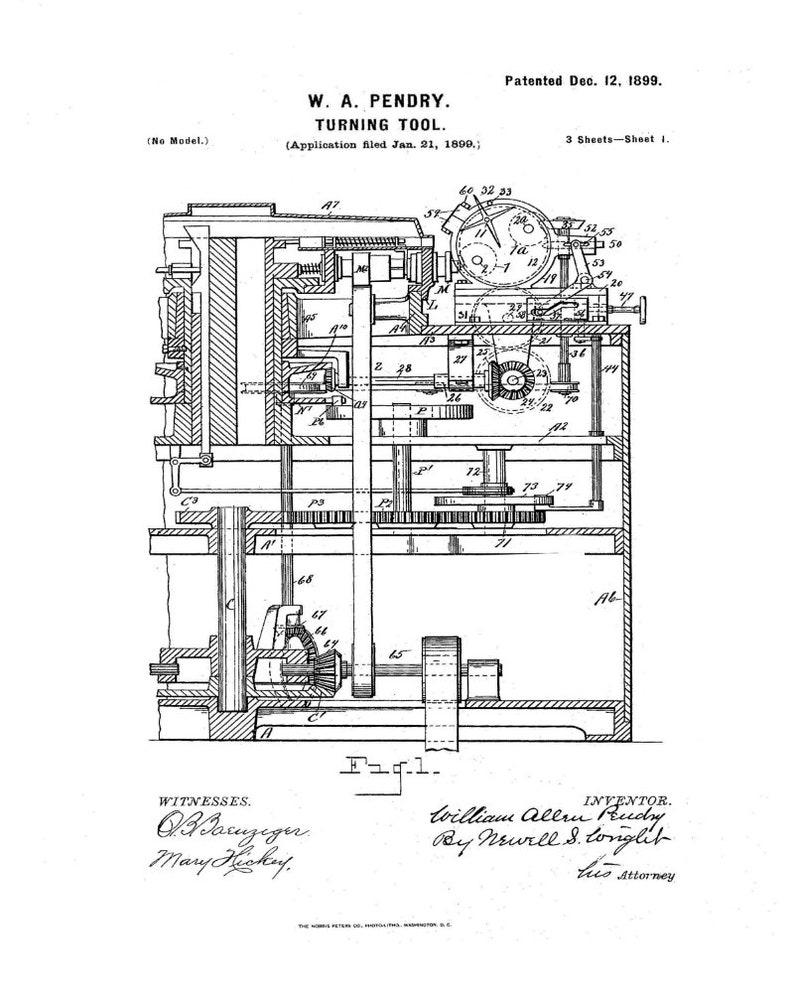 1899 Turning Lathe Invention, Button Making Improvement, Digital Download,  Patent Art, Black Line Drawing, Den Decor, Home Decor, Gift