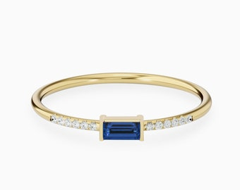 Sapphire Ring, Baguette Blue Sapphire Round Diamond, Solid 18K 14K Minimalist Stackable Ring, Thin Dainty Promise Ring, September Birthstone