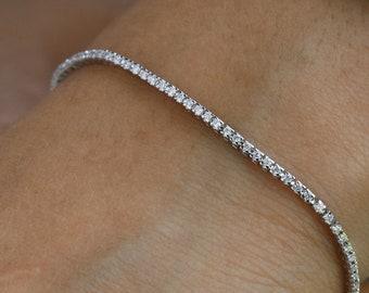 cc9ab7018ebce5 Real Diamonds Tennis Bracelet, Solid 14K/18K Gold, Delicate Bridal Bracelet,  Thin Diamond Bracelet for Women, Rose/White/Yellow Gold