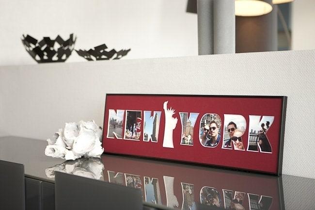 new york schriftzug bilderrahmen f r fotos 20x70cm andere. Black Bedroom Furniture Sets. Home Design Ideas