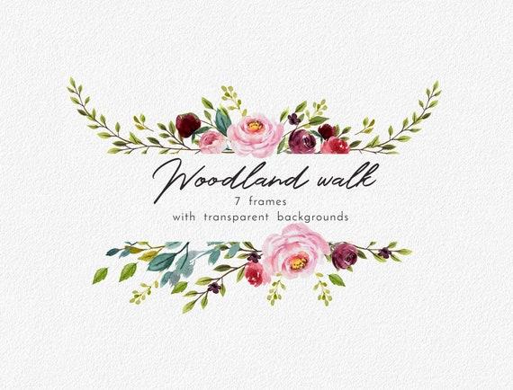 Aquarell Blumen Rahmen Clipart Png Hochzeit Clipart Clipart Etsy