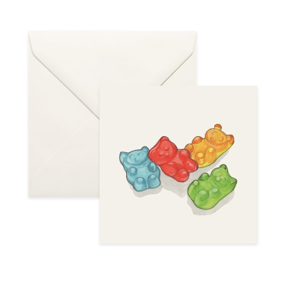 Gummy Bear Sweets Personalized Childrens Party Thank You Cards