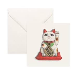 Lucky Cat Maneki Neko Asian Cat for Good Luck 5x5 Folded Set of 5 Blank Greeting Cards Thank You or Good Luck Card Japanese Stationery