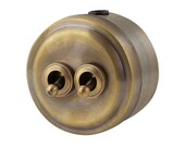 Double toggle light switch, bronze