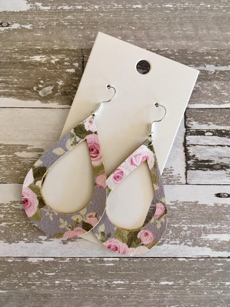 Gray Floral Cut Out Teardrop Earrings