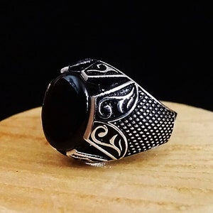 Unique Ancient Greek ring Ancient Greece ring Grecian ring Vintage Roman ring Black Onyx stone Sterling silver oxidized Turkish ring