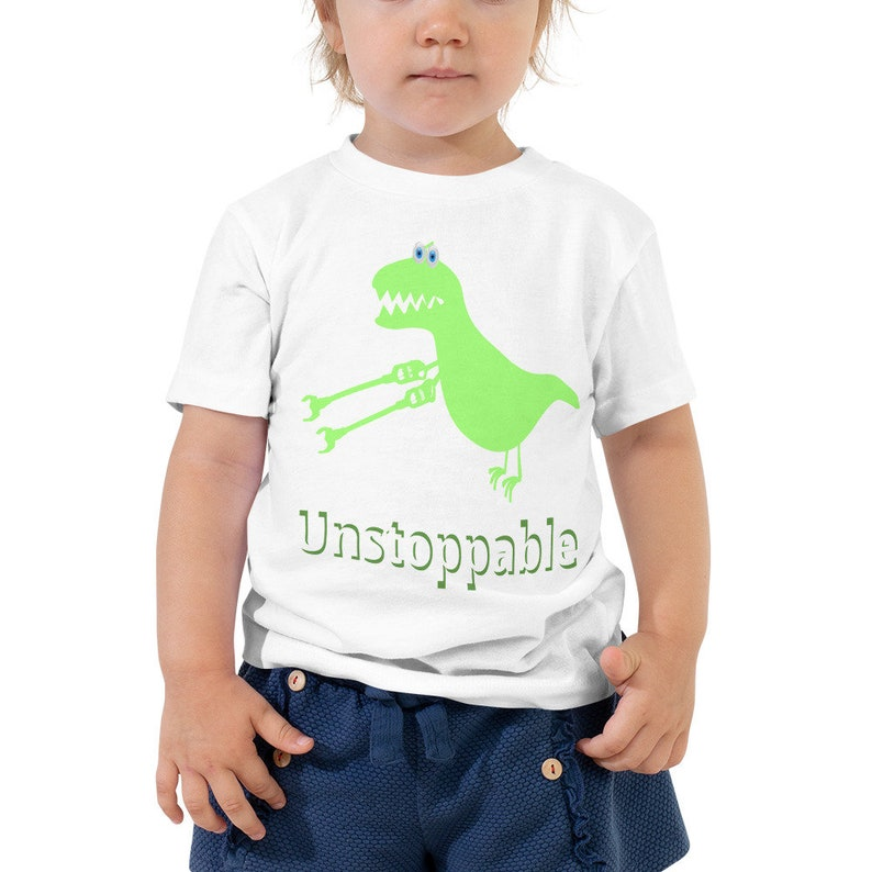 Toddler Sizes 2T,3T,4T Funny Dinosaur Tee I am Unstoppable T-Rex T-Shirt