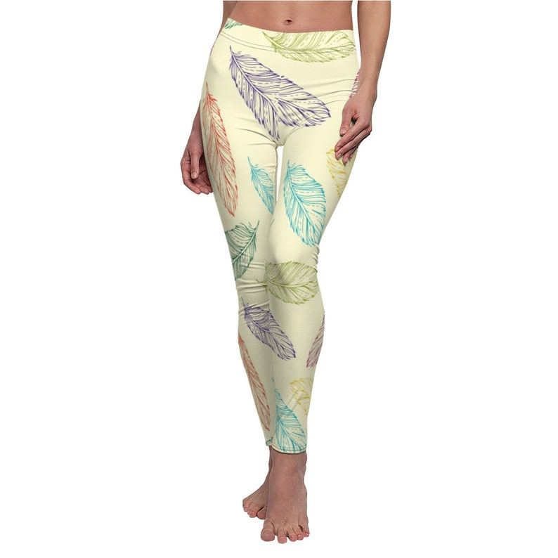 Vintage seamless pattern with hand-drawn feathers  Women/'s Cut /& Sew Casual Leggings
